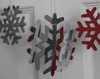 14 cranberry, grey & silver snowflake ornament decorations...patterned paper covered chipboard large/small Snowflake die cuts