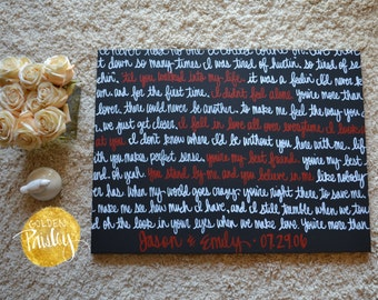 Custom Wedding Vow Art Canvas Painting Wall Art Song Lyric Art Black White Red Wedding Decor Home Decor Anniversary Gift Red Wall Decor Sign