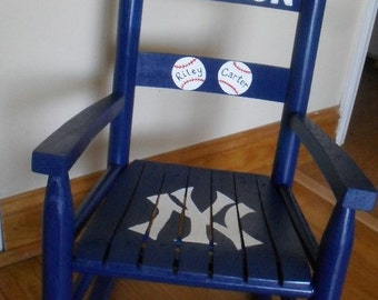 Child Rocking Chair- Kid Rocking Chair- Small Rocker- Baseball- Personalized Hand Painted Rocking Chair