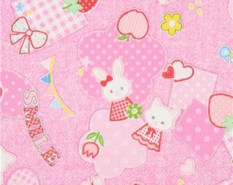 218549 pink with cat bunny rabbit animal strawberry oxford fabric by Kokka