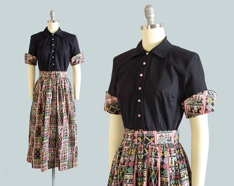 Vintage 1950s Shirt Dress | 50s Guatemalan Folk Novelty Print Cotton Shirtwaist Geometric Full Skirt Day Dress (small)