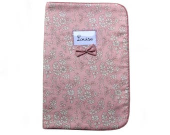 Health Book fleece-lined in Liberty Capel rose nude pink lurex piping