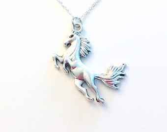 Large Horse Necklace, Equestrian Jewelry, Statement Charm, Gift for Pony Lover, Sterling Silver 925 Chain Birthday Present Running jumping