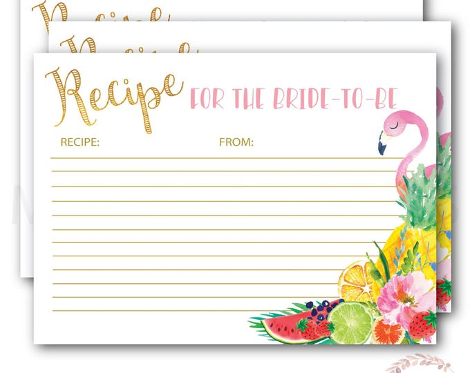 Recipe Card for the Bride to Be // Flamingo Recipe Card // Tropical // Fruit // Gold  // Printed // ARUBA COLLECTION