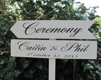 Rustic Wedding Arrow signs Directional, Personalized Ceremony Parking Reception on Stake Roadside sign