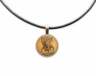 Phoenix necklace Bird jewelry Fantasy pendant Geek amulet