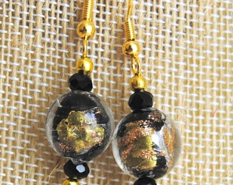 Black, Gold, and Silver Earrings