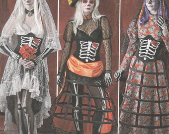 Simplicity 1033 Costume Pattern Womens Day of the Dead Outfits in 3 Variations Size 6,8,10,12,14 UNCUT