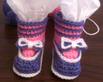 Crocheted Pink and Purple Bow Booties ~ baby ~ shoes~ girl ~ newborn ~ infant