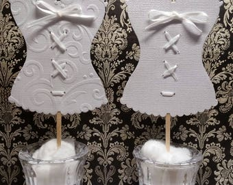 Bachlelorette Party Corset Lingerie Wedding Shower Cupcake Toppers Picks Set of 24