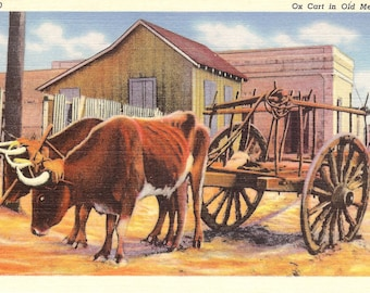 Vintage Linen Postcard...Mexico, Ox Cart in Old Mexico..Used....no. MX0001