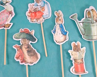 Peter Rabbit cupcake toppers, Peter Rabbit birthday, shower toppers D183 cupcakes