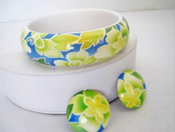 Floral White Bangle Earrings,  Yellow Blue Plastic Bracelet