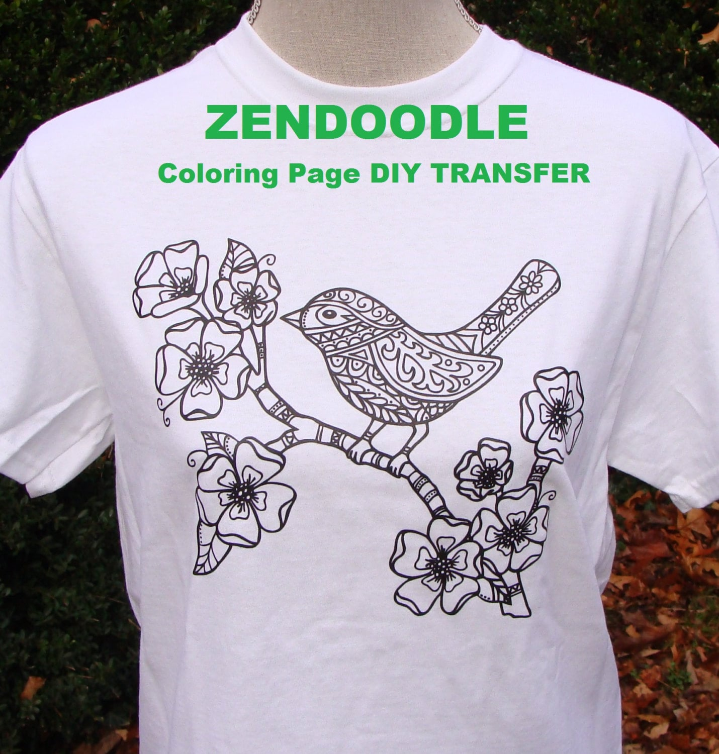 Zendoodle Bird & Flower TRANSFER Iron On for Adult Coloring T
