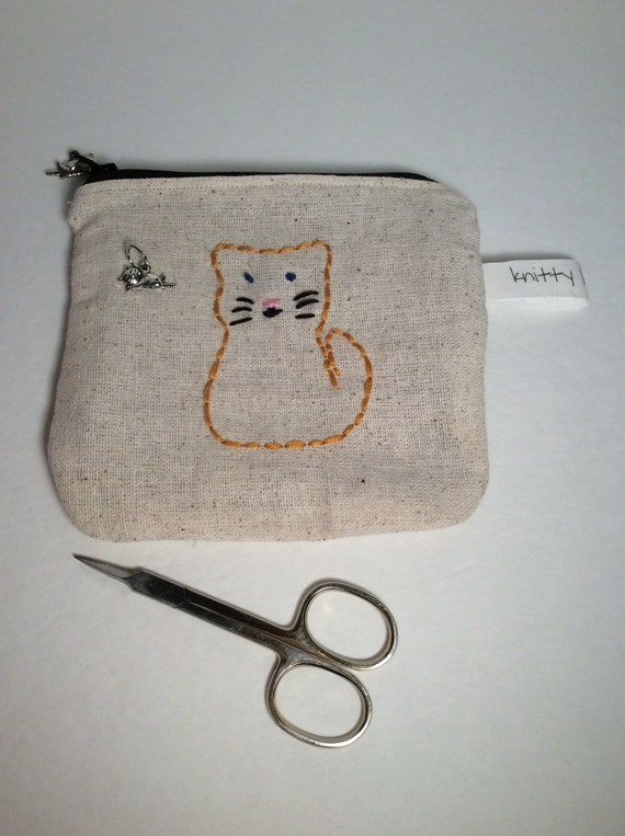 Embroidered Kitty Notion Pouch