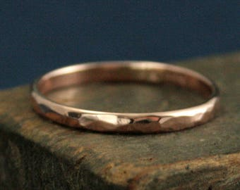 Hammered Band--Women's Gold Band--Women's Gold Ring--Hammered Ring--2mm Half Round Band--Gold Wedding Ring--Rose Gold Ring--Rose Gold Band
