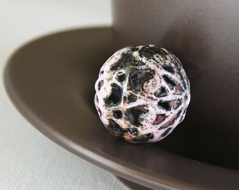 Pinky Paisley Torch Fired Enamel Bead 20mm