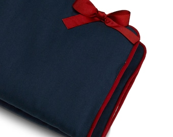 Navy Crib Rail Cover (Red Trim) | Bumperless Crib Bedding | Navy Nursery | Rail Teething Cover