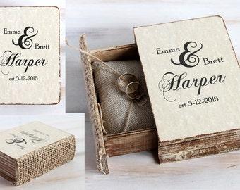 Wedding ring box, Personalized wedding box, Rustic ring bearer box, Engagement box, Ring pillow, Ivory Ring holder, Custom ring box Proposal