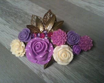 8 cm large barrette bronze/barrette flower /barrette /barrette purple flower wedding/hair barrette/purple violet/ivory bridal hair clip