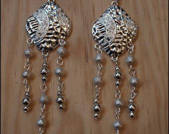 ethnic earrings long silver 13cm