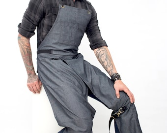 Full Overlapping Split-Leg Apron - Pottery Cross-Back Design - Gray Denim - Leather Reinforcement