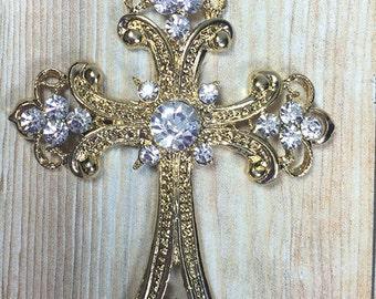 68mm, Gold Cross Rhinestone Pendant - Cross Pendant - Gold Cross - First Communion - Baptism - Chunky Necklace Beads
