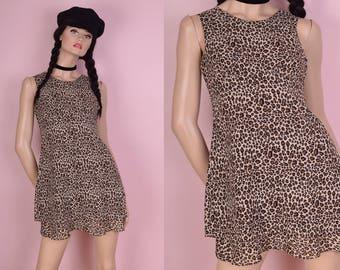 90s Leopard Print Dress/ US 4/ 1990s