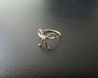 14kt Gold or 14kt Rose gold filled Bow ring Dainty Tie the knot mothers day bridesmaid ring finger ring minimalist jewelry valentines gift