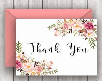 Wedding Thank You Notes, bridal thank you notes, thank you card, boho bridal thank you, floral thank you, pink thank you, B100