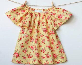Handmade toddler girl's blouse, lemon vintage floral print, 2T