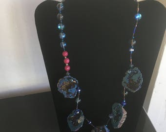 Gorgeous Blue Geode Necklace with Ruby Jade, Blue Quartz, with Copper and blue accent beads