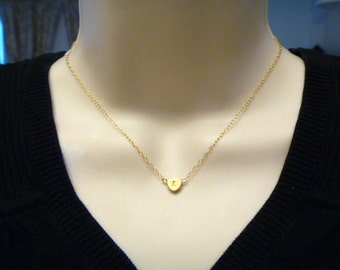 Heart Initial Necklace - Gold Filled Chain - Initial Heart -  Back to Back - Personalized - Friendship - Bridesmaid Gift