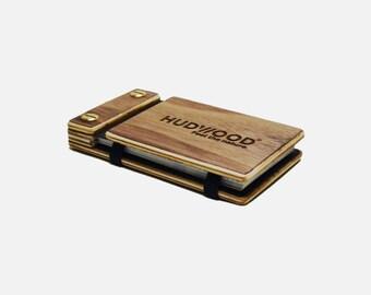Wooden Business Card Holder Case - Customized - Walnut