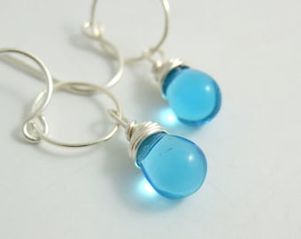 Earrings with Aqua Blue Glass Teardrops Wire Wrapped to Loops CHE-199