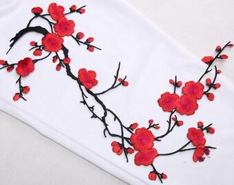 red blossom applique cherry blossom decor flower patch