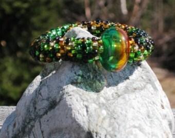Autumn Oak bead crochet bracelet.....FREE SHIPPING