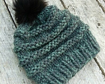 Squishy wool knit hat. Woven cable beanie. Finished product. Women's/tweens winter hat. Faux fur pompom toque. Blue chunky winter hat.