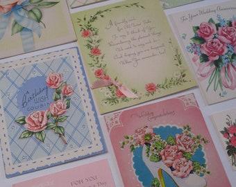 Vintage Greeting Card Lot-Ephemera-Mixed Media-Paper-Crafts-Scrap Booking-ROSES-Set of 9-1950's-UNUSED