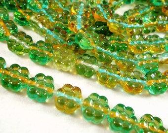 20 glass beads Czech lemon turquoise flowers, 8X4mm (Ptch114)