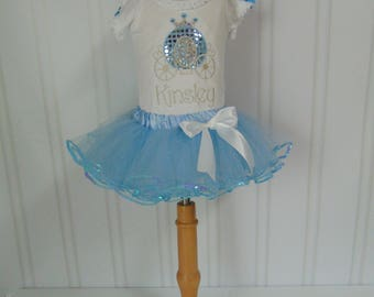 Princess Carriage Outfit- Personalized Bodysuit/T-Shirt/Tutu and Crown Embroidered Birthday Outfit- Cinderella outfit