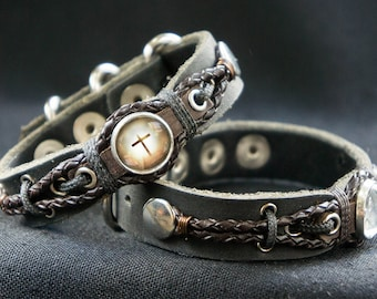 Rustic Thick Leather Cross Bracelet with Adjustable Buckle - Fits all Sizes