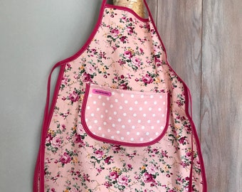 Kids apron pink with flowers