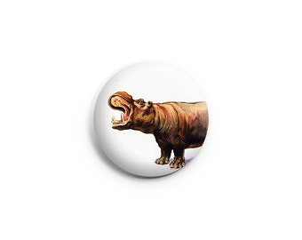Hippo Pinback Button or Fridge Magnet, hippopotamus buttons, hippo badges, hippopotamus pins
