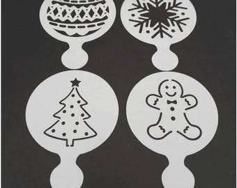 Gingerbread Man, Christmas Tree, Bauble, Snowflake Christmas Stencils 4 pack