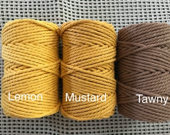3mm (5mm width) Macrame cord/ Twisted Cotton Rope/ 50m per roll
