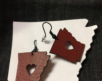 I LOVE Arkansas Earring; leather earring; state of Arkansas; AR earring