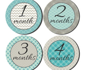 12 month stickers- Monthly Stickers- Milestone Sticker- Baby Month Stickers- Gender Neutral- Milestone Baby Month Stickers- U14