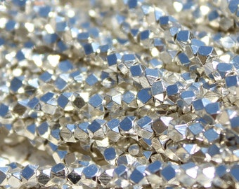 Silver Plated Metal Beads, Polygons with Diamond Facets from India - M-007