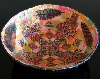 Boho style handmade decorative paper mache bowl with feather and ornaments decoupage, Cute fruit bowl, Beautiful candy dish, Home accents